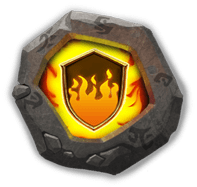 Flame Guard Crest III - Deflects 8% of damage taken.