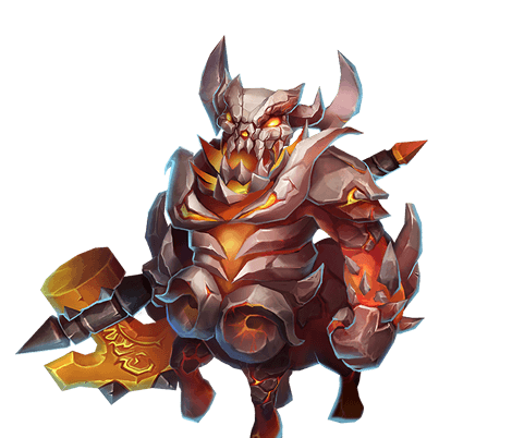 Centaur Lord - Deals massive DMG to a random Hero nearby. Limits DMG taken to 20,000. Has immunity to stun and fast Energy recovery. Also grants a shield that blocks one negative status every 0.2s.